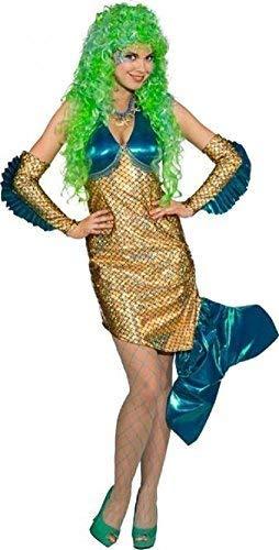 Fancy Me Damen Luxus Sexy Meerjungfrau Märchen Kreatur Mythisch Biest Tier Tv Buch Film Kostüm Kleid Outfit - Gold, UK 10 (EU 38) (Mythische Tier Kostüm)