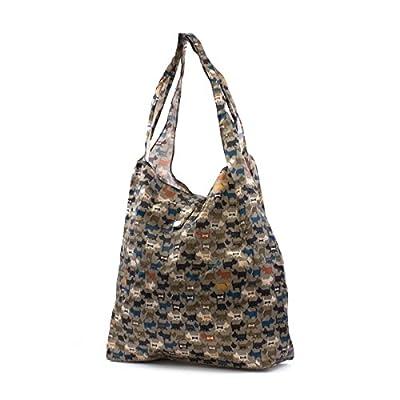 Eco Chic Grey Dog Print Foldaway Shopper Bag