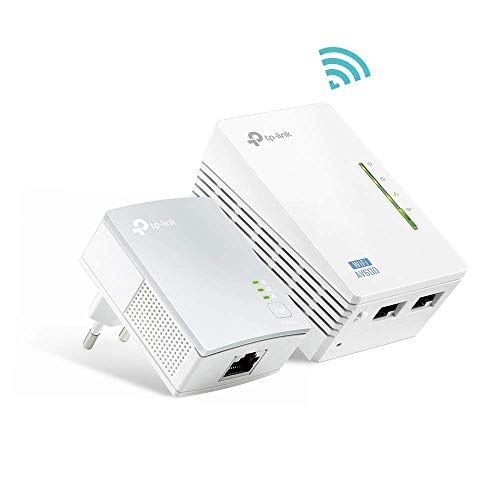 TP-Link TL-WPA4220 KIT AV600 WLAN N300 WiFi Powerline (max. 600Mbit/s Powerline, max. 300Mbit/s WLAN 2,4GHz , Plug und Play, kompatibel zu allen Powerline Adaptern, 2-Teilig), weiß