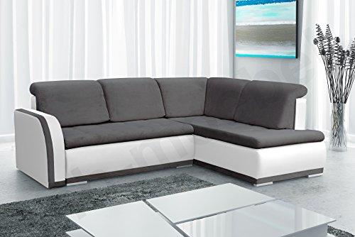 Ecksofa Sofa Eckcouch Couch mit Schlaffunktion und Bettkasten Ottomane L-Form Schlafsofa Bettsofa Polstergarnitur - VERO II (Ecksofa Rechts, Dunkelgrau +...