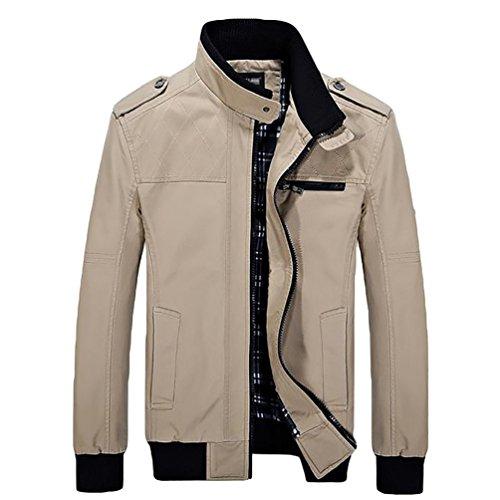 YOUJIA Homme Gentlemen Trench Coat Veste à Manches Longues Blouson Manteau Kaki