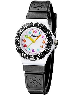 Niedlich Kreativ Karikatur Spielzeuguhr 3D Muster Blumen Arabische Ziffern Skalieren Armbanduhren für Kinder Jungen...