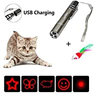 X-CHENG Cat Chaser Toys -7 in 1 Mini Flashlight & Interactive- -USB Rechargeable LED Light Lighting- Pet Cat Catch Single Point Infrared Interactive Exercise Cat Training Tool