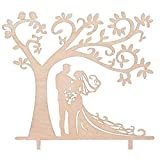 Michelle ShawLO Braut Bräutigam Holz Cake Topper Holz Baum Hochzeitstorte Topper Hochzeit Dekoration Wood Wedding Cake Topper