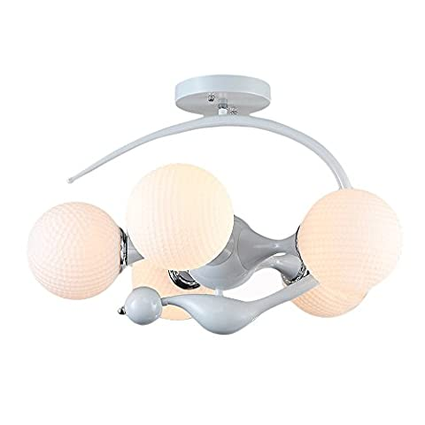 Stylish Ceiling Light with 5 Bulb Metal White Colour Theme White, Spherical Glass Shade for Living Room