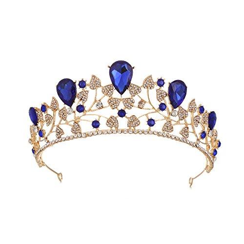 GHJSF Hochzeitskrone für Braut Prinzessin Krone Tiara Prom Queen Crown Quinceanera Festzug Kronen Prinzessin Crown Strass Crystal Bridal Crowns Diademe Accessoires Kopfschmuck (Color : Blue)