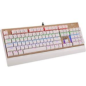 E-YOOSO X Mechanische Gaming-Tastatur, regenbogenfarben, mit Hintergrundbeleuchtung 104 Tasten Weiß X7200