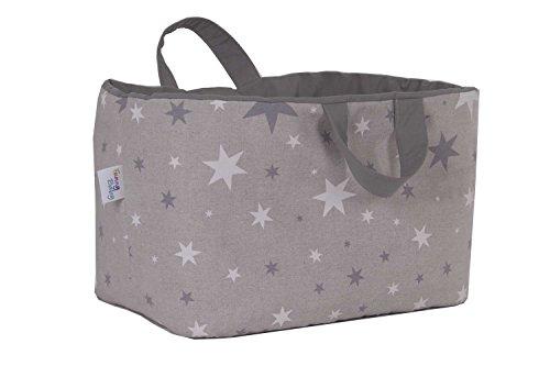 Funny Baby 608210 - Juguetero acolchado 30 x 45 x 27 cm, diseño estrellas, color gris