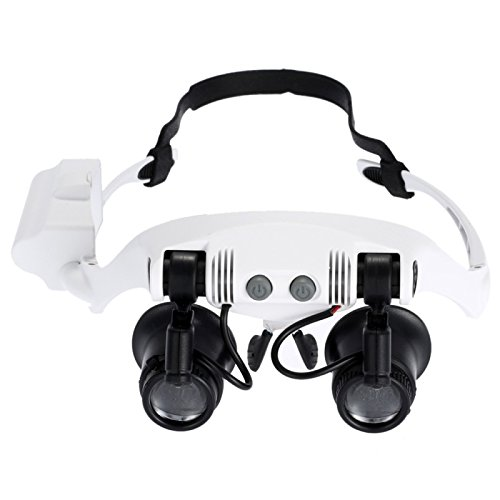 SureShop 10X 15X 20X 25X Wearing Glasses Eyes Illuminated Magnifier Magnifying LED Light