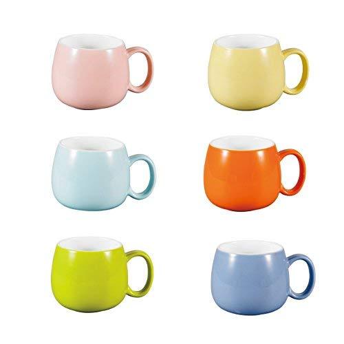Panbado Kaffeetasse aus Porzellan, 6 Teilig Set Tassen 375 ml, 5 Zoll Kaffeepott, Bunt