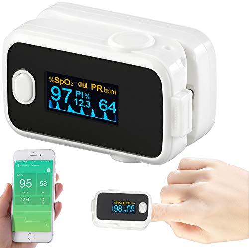 newgen medicals Pulsmesser: Medizinischer Finger-Pulsoximeter mit OLED-Farbdisplay, Bluetooth, App (Finger-Blutdruckmessgerät)