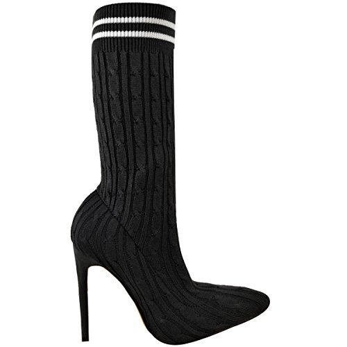 f840c7a64a56b Bottes Femme Bottines Chemise À Cheveux Talon Stiletto Chaussures À Bout  Pointu Haut Pointure Black Knit ...