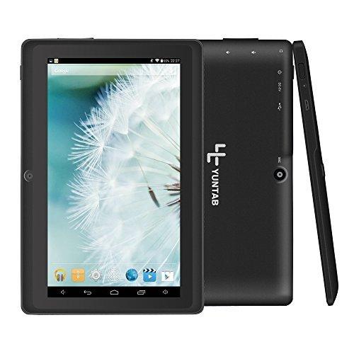 Yuntab Q88 7 Inch Allwinner A33,1.5 Ghz Quad Core Google Android Tablet PC,512MB+8G,Dual Camera,WiFi,Bluetooth,Mini USB,G-Sensor,Support SD/MMC/TF Card (Black)