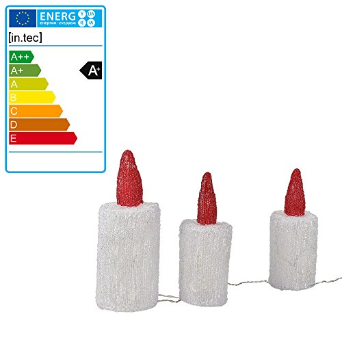 [in.tec] 3 velas de Navidad de acrílico -20 LED - blanco frío