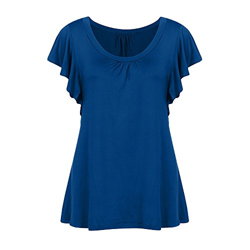 MRULIC 2018 Damen Rundhals Geripptes Sleeve Casual Falten Kurzarm T-Shirt mit Stretch Tunika Top(Blau,EU-46/CN-2XL) - Rote Damen Henley T-shirt