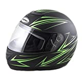 Saferide | Integralhelm Schwarz-Grün Matt S 55-56 cm Helm Motorrad Quad Damen Herren Roller Gesichtsschutz Klapphelm Erwachsene Regenschutz Sturzhelm Motorradhelm Moped Mofa