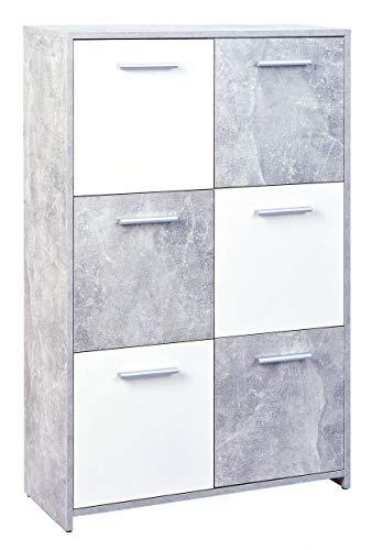 H24living Kommode mit 6 Türen Sideboard Mehrzweckschrank Anrichte Diele Flur Esszimmer Wohnzimmer