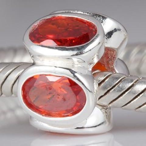 Arancione Luci Ovale con Zirconi in Argento Sterling 925Ciondolo Charm per braccialetti Pandora, Biagi, Troll, Chamilia perline braccialetti stile europen