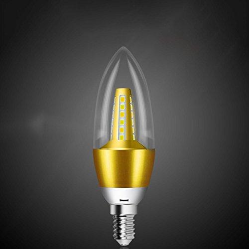 DZW Bulbo del candelabro de E14 LED, 5W E14 Base, bulbos de la vela de 3000K LED, 220V, regulable, Adaptar una araña con la lámpara de cristal , gold , 2Fuente de alimentación de corriente constante