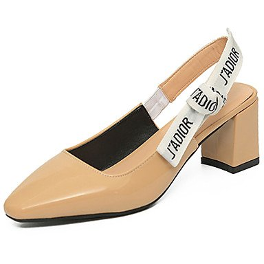 LvYuan Da donna Sandali PU (Poliuretano) Estate Footing Più materiali Quadrato Bianco Nero Beige 7,5 - 9,5 cm White