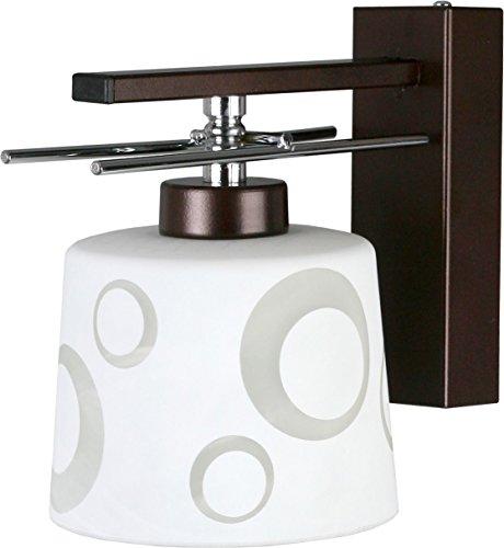Bauhaus Hotel lámpara (Bauhaus, marrón, color blanco, estampado, embudo de pantalla, adornos cromados, E27) Cocina lámpara interior Proyección Piso lámpara de pared Dormitorio Lámpara