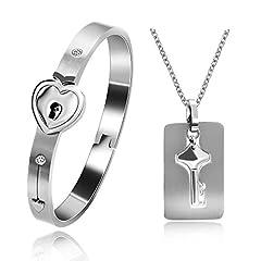 Idea Regalo - Uloveido - Set di collana e braccialetto a forma di cuore con chiave e lucchetto, unisex e Acciaio inossidabile, colore: Steel Color, cod. SN300-Steel Color