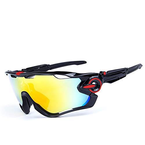 CIHART Fahrradbrille Polarisierte Sonnenbrille Sport für Unisex Leichte Frame Level 3 Anpassung Kurzsichtigkeit Anpassung,Bright-Black-Red -