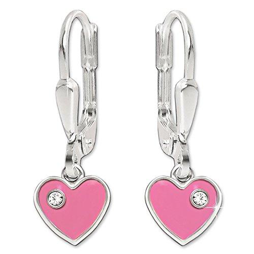 Clever Schmuck Silberne Mädchen Ohrringe als Ohrhänger 21 mm Mini Herz 6 mm rosa - pink lackiert mit Zirkonia weiß glänzend STERLING SILBER 925