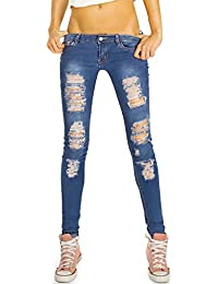 Bestyledberlin Destroyed Damen Jeans, enge Used Look Röhrenjeans, Zerrissene Skinny Fit Denim Hosen j87kw