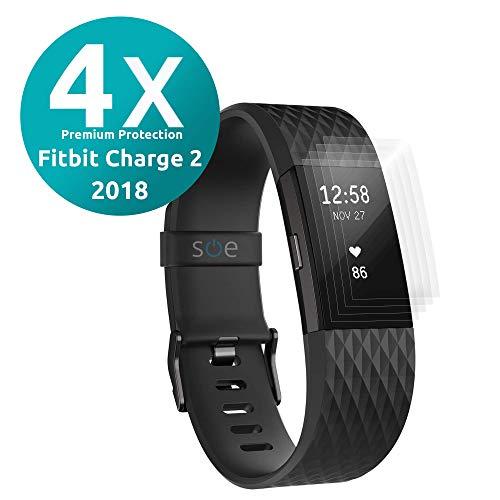 3D Schutzfolie [4 Stück] kompatibel mit Fitbit Charge 2 [TÜV - Made in Germany] Premium HD Displayschutz-Folie kein Glas, Panzer-Folie TPU, Schmutzabweisend