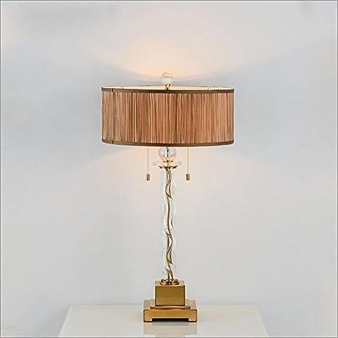 OOFWY E27 Tischlampe Moderne minimalistische Art für Hotel-Schlafzimmer-Wohnzimmer-Nachttopf-Dekoration-Tuch Lampenschirm-Wellen-Muster-Art-Glaskristall-Schreibtisch-Lampen Höhe 27.6inch