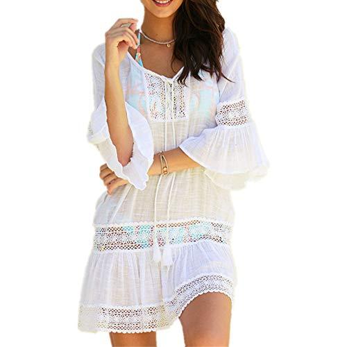 PANAX Damen Kleid mit Spitze Urlaub Strand Bikini Kittel Strandponcho Sommer Bademode Weiß