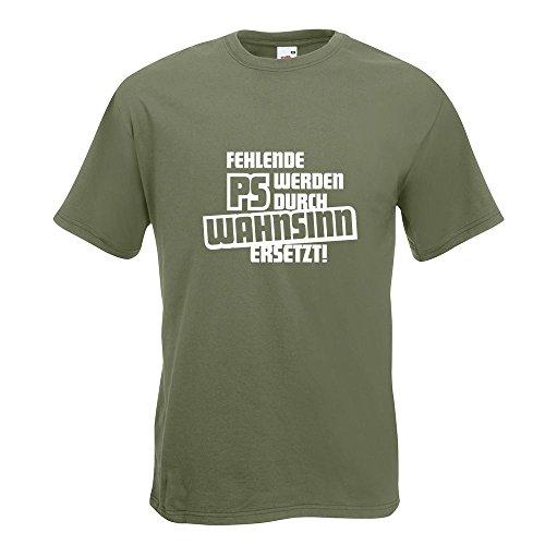 KIWISTAR - Fehlende PS werden durch... T-Shirt in 15 verschiedenen Farben - Herren Funshirt bedruckt Design Sprüche Spruch Motive Oberteil Baumwolle Print Größe S M L XL XXL Olive