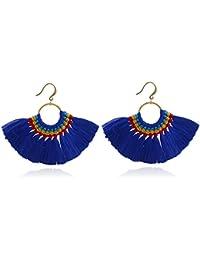 418197448 Kiwi 2: Bohemian Wind Retro Exaggerated Braided Silk Earrings Female  Fashion Tide Fr