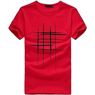 BaZhaHei Men Summer Casual Short Sleeve T-Shirt Fashion Printing Tees Shirt Round Neck Cotton Plain Blouse Tops Red