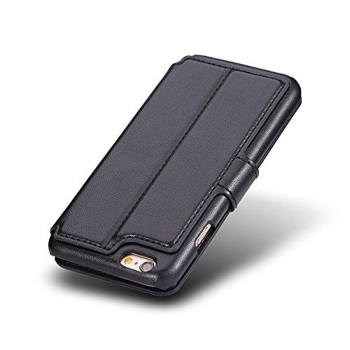 iPhone 7 Hülle Feitenn PU Leder Case Cover Flip Lederhülle Mit Standfunktion Karten Kleingeld Halter Stoßfest Staubdicht Hülle Handyhülle Für Apple iPhone 7 (2016) - Schwarz Schwarz