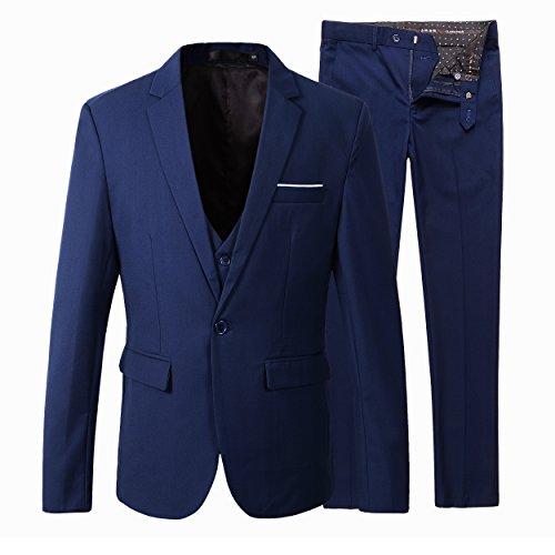 Herren Slim Fit 3 Pieces Anzug Blazer Anzugjacke (M, Navy) (Blaue Slim-fit-anzug)