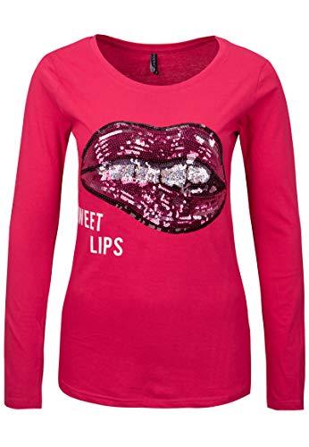 Stitch & Soul Damen Langarm-Shirt mit Pailletten Baumwolle pink M