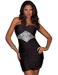 0491f739e35 2627 Fashion4Young Damen Trägerloses Bandeau-Minikleid Party Silvester  Abendkleid Minikleid