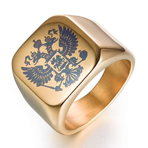 Xinmeitezhubao Herrenring, Doppelköpfiger Kaiseradler Ring Byzantinischer Kaiser Wappen der Russischen Föderation,Gold,9