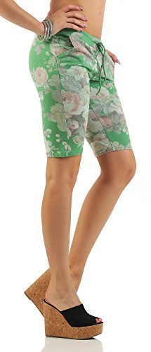 ZARMEXX mode femme Shorts Sweatpants Shorts courts pantalons sport loisir fleurs de coton Vert