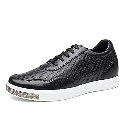 CHAMARIPA Elevator Shoes Mens Breathable Mesh Leather Sneakers Skate Shoes,Black - 2.36 inches Taller - H71C26K175D
