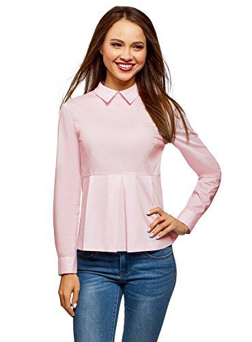 oodji Ultra Mujer Blusa de Algodón con Volante, Rosa, ES 36 / XS