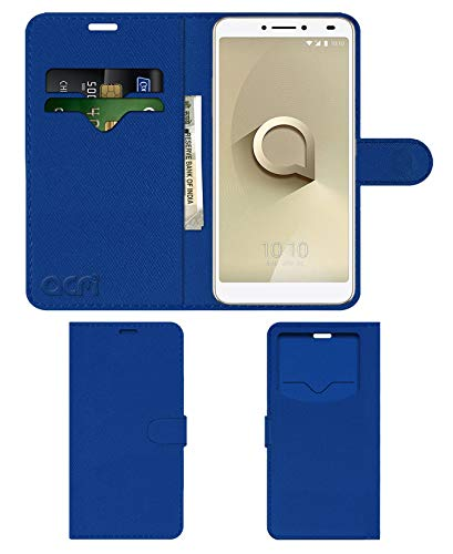Acm Leather Window Flip Wallet Front & Back Case for Alcatel 3v Mobile Cover Blue