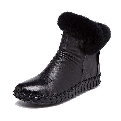 Pelle Felpa black Incinta Casuale Suole Piatto Femmina Morbido Cotone Fatto Pigra Tacco Caviglia Caldo A Scarpe Thicker Mano Stivali ZUAq0gzw