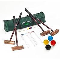 Garden Games, Set de Croquet Cottage Para 4 Jugadores, tamaño adulto, con bolas tamaño estándar en una bolsa de lona