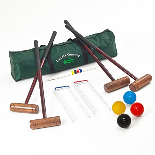 Garden Games Cottage Croquet Set - 4 Player Adult Croquet Set in a Storage Bag UPGRADED to include 12oz composite balls from