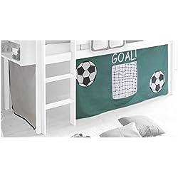 Rideaux MAX pour lit superposé lit surélevé cabane tente coton motif foot vert et blanc