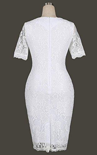 Minetom Femmes été Robe Vintage Floral Dentelle Bodycon Manche Courte Robe de Plage Party Cocktail Dress Blanc
