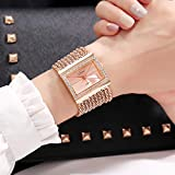 Ladies Watch, Alloy Bracelet Watch Ladies Fashion Square Dial Silver Color Rhinestone Simple Quartz Watch Silver Strap,Gold